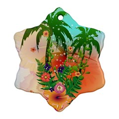 Tropical Design With Palm And Flowers Snowflake Ornament (2-Side)