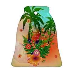 Tropical Design With Palm And Flowers Bell Ornament (2 Sides)