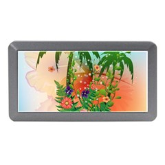 Tropical Design With Palm And Flowers Memory Card Reader (Mini)