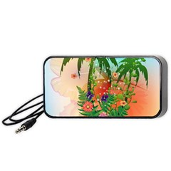Tropical Design With Palm And Flowers Portable Speaker (black)