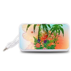 Tropical Design With Palm And Flowers Portable Speaker (White)