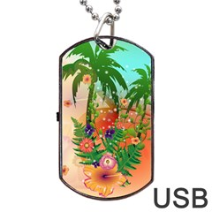 Tropical Design With Palm And Flowers Dog Tag USB Flash (One Side)
