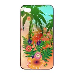 Tropical Design With Palm And Flowers Apple Iphone 4/4s Seamless Case (black)