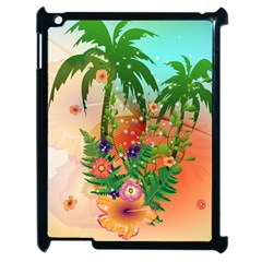 Tropical Design With Palm And Flowers Apple iPad 2 Case (Black)
