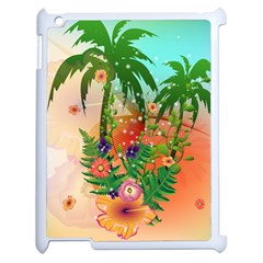 Tropical Design With Palm And Flowers Apple iPad 2 Case (White)