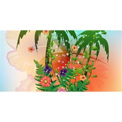 Tropical Design With Palm And Flowers YOU ARE INVITED 3D Greeting Card (8x4)