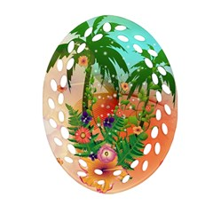 Tropical Design With Palm And Flowers Oval Filigree Ornament (2-Side)