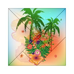 Tropical Design With Palm And Flowers Acrylic Tangram Puzzle (6  x 6 )