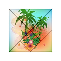 Tropical Design With Palm And Flowers Acrylic Tangram Puzzle (4  x 4 )
