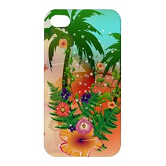 Tropical Design With Palm And Flowers Apple iPhone 4/4S Premium Hardshell Case