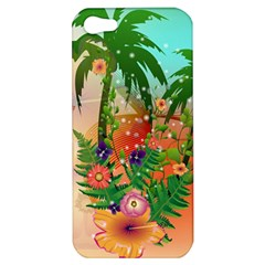 Tropical Design With Palm And Flowers Apple iPhone 5 Hardshell Case