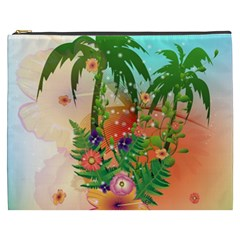 Tropical Design With Palm And Flowers Cosmetic Bag (XXXL)