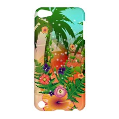 Tropical Design With Palm And Flowers Apple iPod Touch 5 Hardshell Case