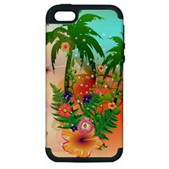 Tropical Design With Palm And Flowers Apple iPhone 5 Hardshell Case (PC+Silicone)