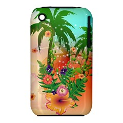 Tropical Design With Palm And Flowers Apple iPhone 3G/3GS Hardshell Case (PC+Silicone)