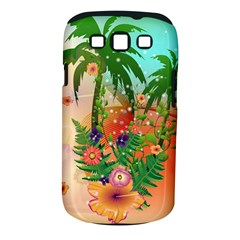 Tropical Design With Palm And Flowers Samsung Galaxy S III Classic Hardshell Case (PC+Silicone)