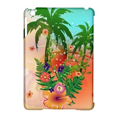 Tropical Design With Palm And Flowers Apple iPad Mini Hardshell Case (Compatible with Smart Cover)