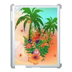 Tropical Design With Palm And Flowers Apple iPad 3/4 Case (White)
