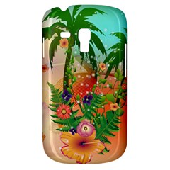 Tropical Design With Palm And Flowers Samsung Galaxy S3 MINI I8190 Hardshell Case