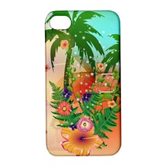 Tropical Design With Palm And Flowers Apple iPhone 4/4S Hardshell Case with Stand