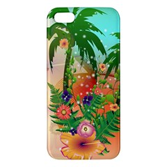 Tropical Design With Palm And Flowers Apple iPhone 5 Premium Hardshell Case