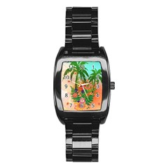 Tropical Design With Palm And Flowers Stainless Steel Barrel Watch