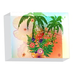 Tropical Design With Palm And Flowers 5 x 7  Acrylic Photo Blocks