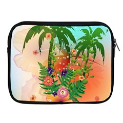 Tropical Design With Palm And Flowers Apple iPad 2/3/4 Zipper Cases