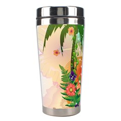 Tropical Design With Palm And Flowers Stainless Steel Travel Tumblers