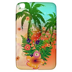 Tropical Design With Palm And Flowers Samsung Galaxy Tab 3 (8 ) T3100 Hardshell Case