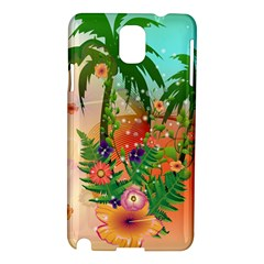 Tropical Design With Palm And Flowers Samsung Galaxy Note 3 N9005 Hardshell Case