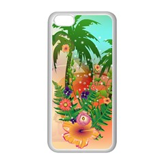 Tropical Design With Palm And Flowers Apple Iphone 5c Seamless Case (white)