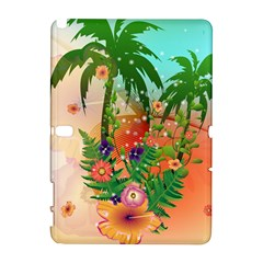 Tropical Design With Palm And Flowers Samsung Galaxy Note 10.1 (P600) Hardshell Case