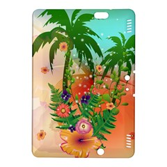 Tropical Design With Palm And Flowers Kindle Fire HDX 8.9  Hardshell Case