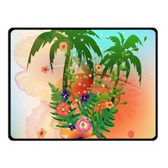 Tropical Design With Palm And Flowers Double Sided Fleece Blanket (small)