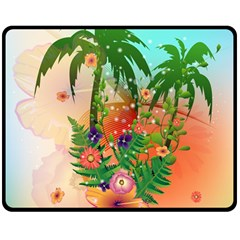 Tropical Design With Palm And Flowers Double Sided Fleece Blanket (Medium)