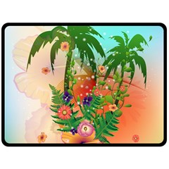 Tropical Design With Palm And Flowers Double Sided Fleece Blanket (Large)