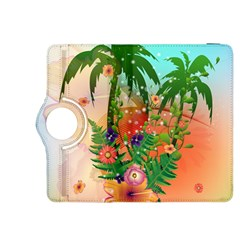 Tropical Design With Palm And Flowers Kindle Fire HDX 8.9  Flip 360 Case