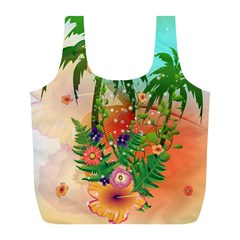 Tropical Design With Palm And Flowers Full Print Recycle Bags (L)