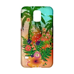 Tropical Design With Palm And Flowers Samsung Galaxy S5 Hardshell Case
