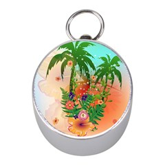 Tropical Design With Palm And Flowers Mini Silver Compasses