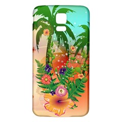 Tropical Design With Palm And Flowers Samsung Galaxy S5 Back Case (White)