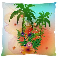 Tropical Design With Palm And Flowers Large Flano Cushion Cases (One Side)