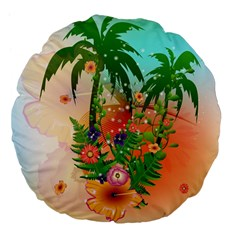 Tropical Design With Palm And Flowers Large 18  Premium Flano Round Cushions