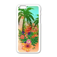 Tropical Design With Palm And Flowers Apple iPhone 6/6S White Enamel Case
