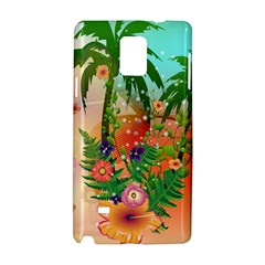 Tropical Design With Palm And Flowers Samsung Galaxy Note 4 Hardshell Case