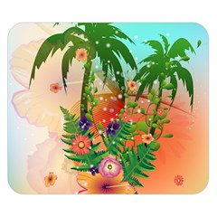 Tropical Design With Palm And Flowers Double Sided Flano Blanket (Small)