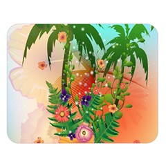Tropical Design With Palm And Flowers Double Sided Flano Blanket (large)