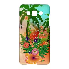 Tropical Design With Palm And Flowers Samsung Galaxy A5 Hardshell Case