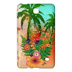 Tropical Design With Palm And Flowers Samsung Galaxy Tab 4 (8 ) Hardshell Case